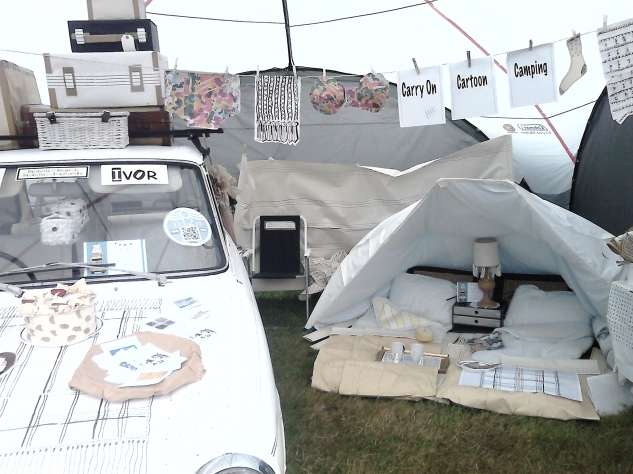 Research Artist Carol Hanson's installation at Green Man: Doris and Ivor's Carry On Cartoon Camping