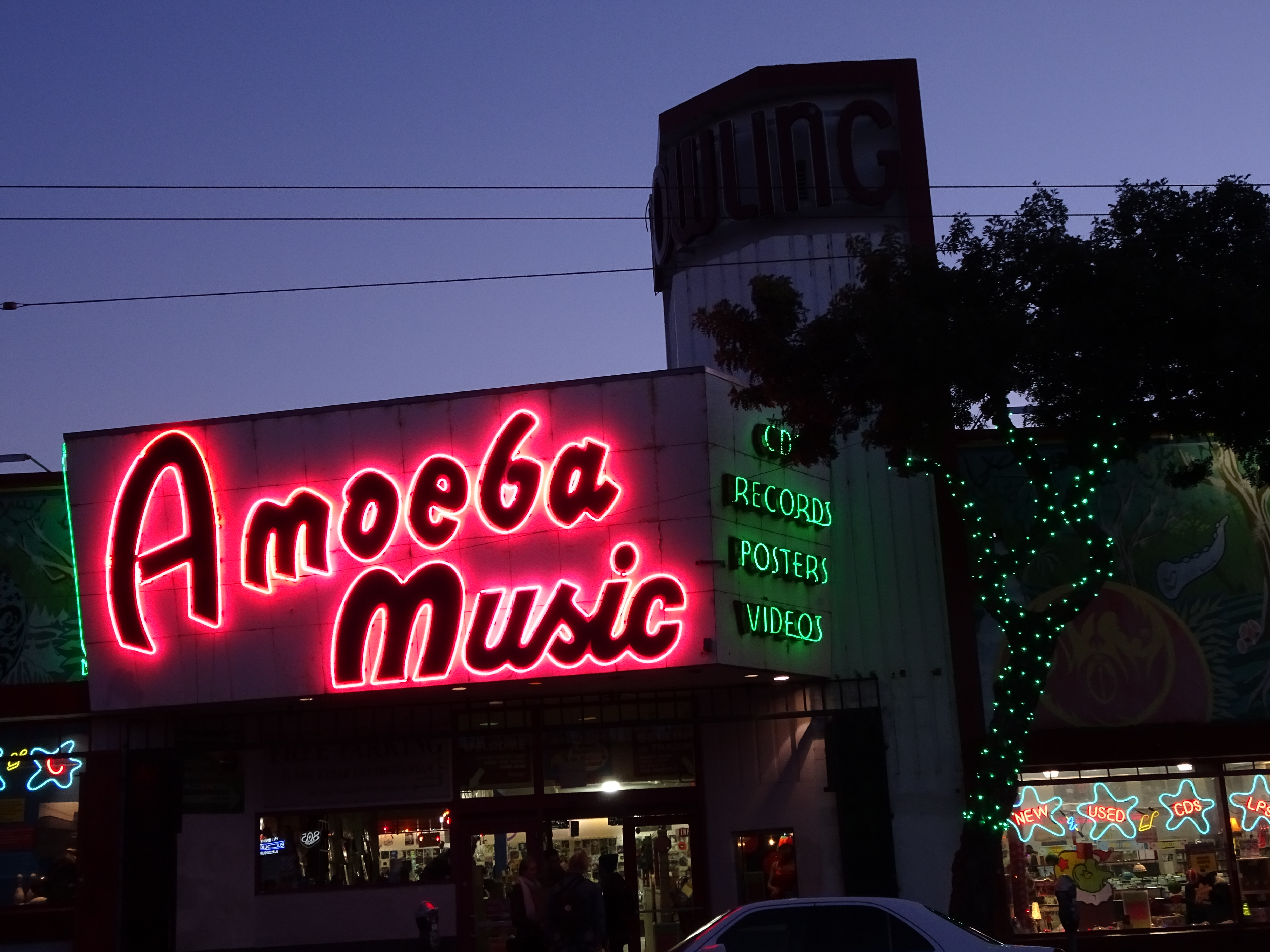 Neon sign outside Amoeba Records the largest record store in the world, San Francisco Haight & Ashbury